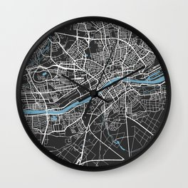 Frankfurt Map | Black & Blue | More Colors, Review My Collections Wall Clock