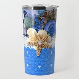 Healing Blue Seashells Sea Life Travel Mug