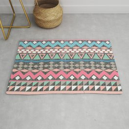 Vintage Wood Aztec, Andes Teal & Pink Abstract Pattern Rug