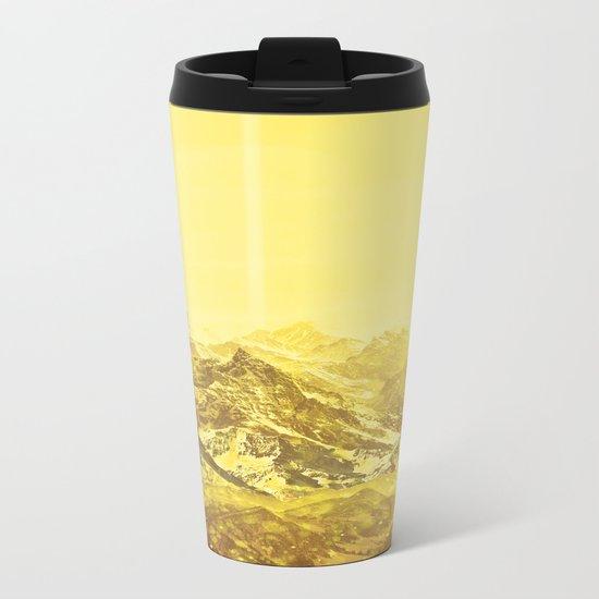 Mountains Yellow Metal Travel Mug