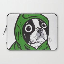 Boston Terrier Green Hoodie Laptop Sleeve