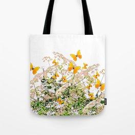WHITE ART GARDEN ART OF YELLOW BUTTERFLIES Tote Bag