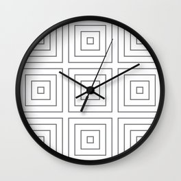 Maze Charcoal on White Wall Clock