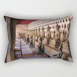 Siting Buddha Statues Buddhist Temple, Vientiane, Laos Rectangular Pillow