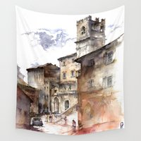 indonesia Wall Tapestries featuring Cortona, Italy by zawij