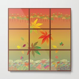Falling Leaves on Window Pane Metal Print