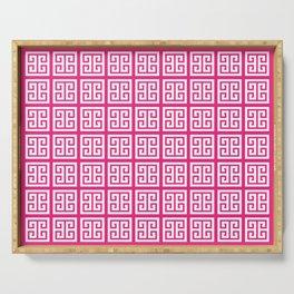 Rose Pink Greek Key Pattern Serving Tray