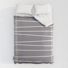 Mid century modern textured gray stripes Duvet Cover