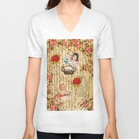 shabby chic V-neck T-shirts featuring Shabby Chic by Diego Tirigall