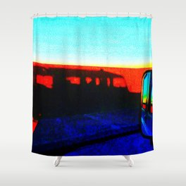 Landrover in shadow Shower Curtain