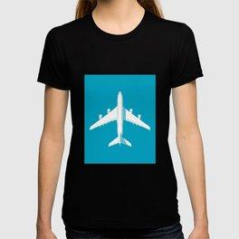 A380 Super Jumbo Jet Airliner - Cyan T-shirt