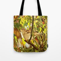 sparrow Tote Bags featuring Sparrow by Judy Palkimas