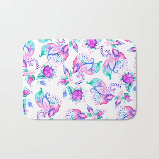Modern pink turquoise hand painted floral paisley pattern illustration  Bath Mat