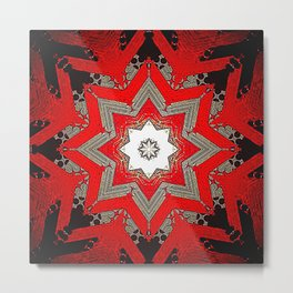 Silver red and black holiday star Metal Print