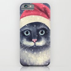 Christmas cat with a mustache iPhone 6 Slim Case