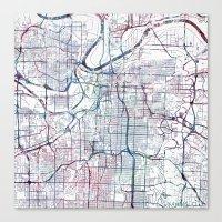 kansas city Canvas Prints featuring Kansas city map by MapMapMaps.Watercolors