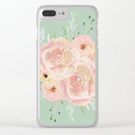 Wild Roses on Pastel Cactus Green Clear iPhone Case