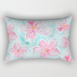 Hand painted teal fuchsia watercolor floral Rectangular Pillow
