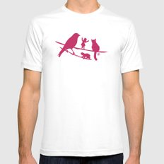 Girl tells a story to her friends Mens Fitted Tee White MEDIUM