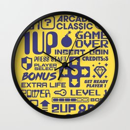 Arcade Game Text Interface Graphics - Yellow Wall Clock