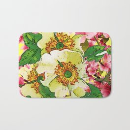 CONTEMPORARY PINK & CREAMY WHITE SPRING FLOWERS Bath Mat