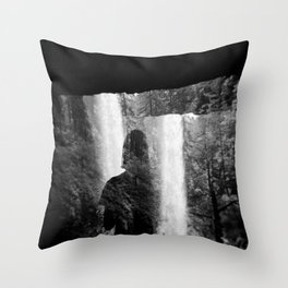 Washed Away by Waterfalls - Black and White Holga Film Photograph Throw Pillow