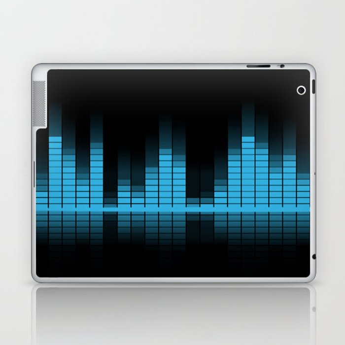 Blue Graphic Equalizer on Black Laptop & iPad Skin by pldesign