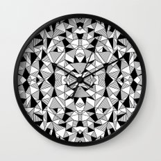 Ab Lines Tile with Black Blocks Wall Clock