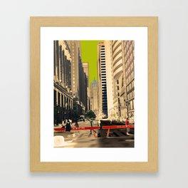 Downtown Chicago photography digitally reimagined - modern Chicago skyline in pop art Framed Art Print