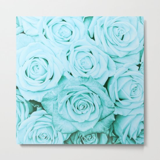 Turquoise roses - flower pattern - Vintage rose on #Society6 Metal Print
