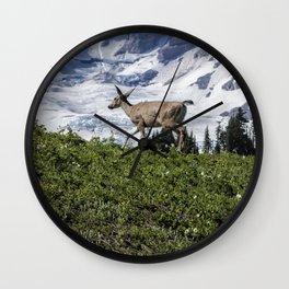 Deer Heading Up the Mountain, No. 1 Wall Clock