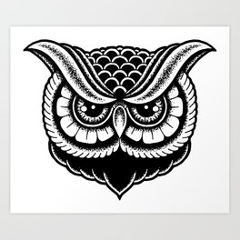 owl drawing art prints society6 Ink Drawing Owl traditional owl print art print