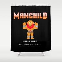 8bit Shower Curtains featuring 8Bit Manchild by manchildtees.com