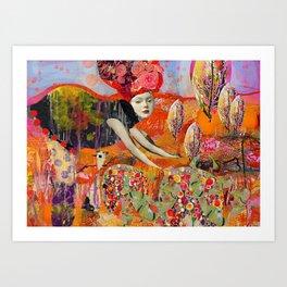 Tending the garden with love Art Print
