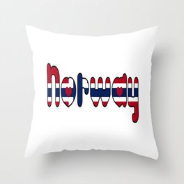 Norway Font with Norwegian Flag Throw Pillow