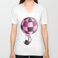 baloon V-neck T-shirts featuring Rabbit on pink baloon by My moony mom