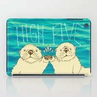 otters iPad Cases featuring High Five / Sea Otters by Alissa Thiele