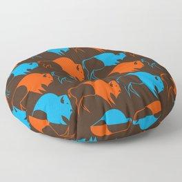 Orange Blue Buffalo Spirit Floor Pillow