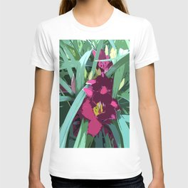 Rare Daylily in ruby red, graphic design T-shirt