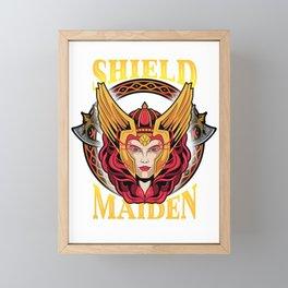 Shield Maiden Norse Mythology Female Warrior Framed Mini Art Print