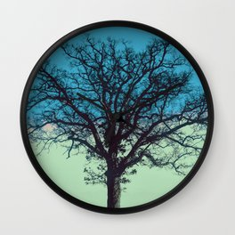 Teal and Aqua Abstract Moonlit Sky Tree Landscape A325 Wall Clock
