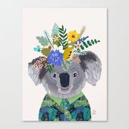 Koala with flowers on head Canvas Print