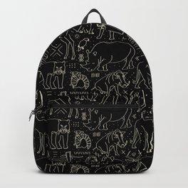 African Animal Mudcloth in Black + Bone Backpack
