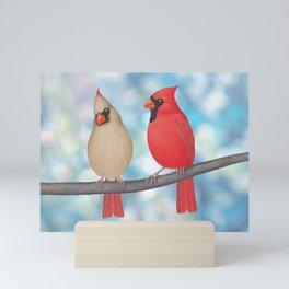charming cardinals and bokeh Mini Art Print