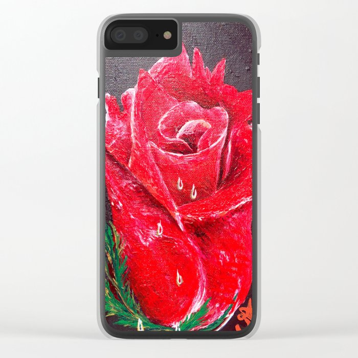 Red Red Rose Acrylic Painting Clear iPhone Case