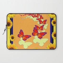 Monarch Butterflies Sunflowers Cumin Color & Yellow Art Laptop Sleeve