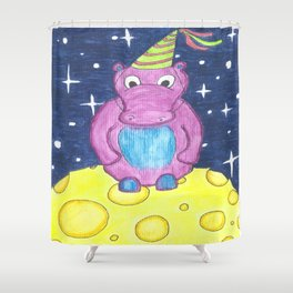 Party On The Moon Hippo Shower Curtain