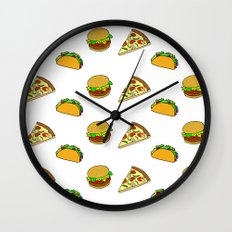 Pizza Taco Burger Pattern Wall Clock