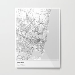 Sydney Simple Map Metal Print