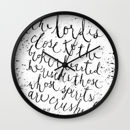 PSALM 34:18 (Black and White) Wall Clock